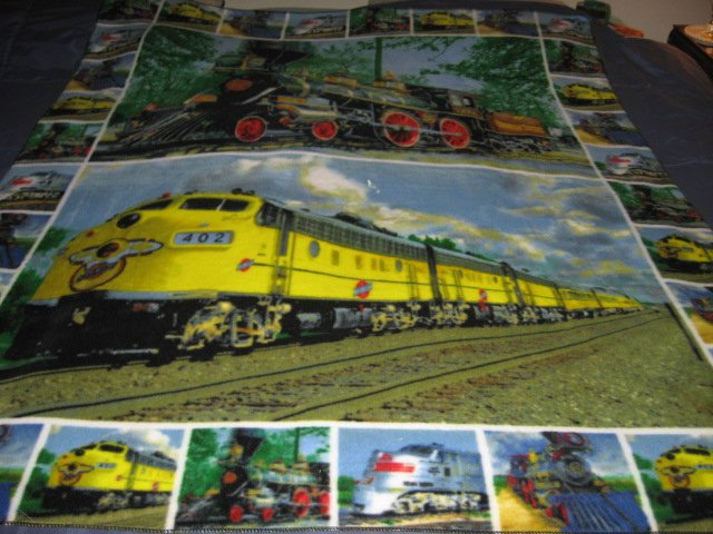 Image 0 of Trains Historical Modern Child bed size fleece blanket 56 X 48 inch RARE