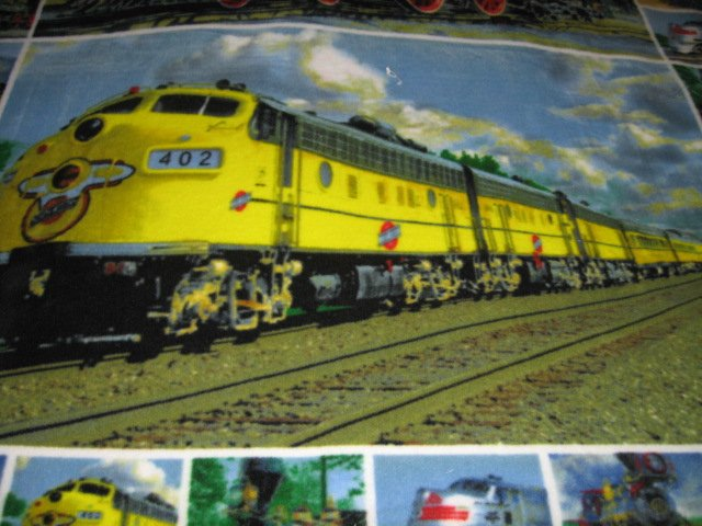 Image 1 of Trains Historical Modern Child bed size fleece blanket 56 X 48 inch RARE