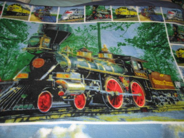 Image 2 of Trains Historical Modern Child bed size fleece blanket 56 X 48 inch RARE