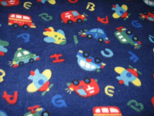 Image 0 of Alphabet cars planes large fleece blanket  57
