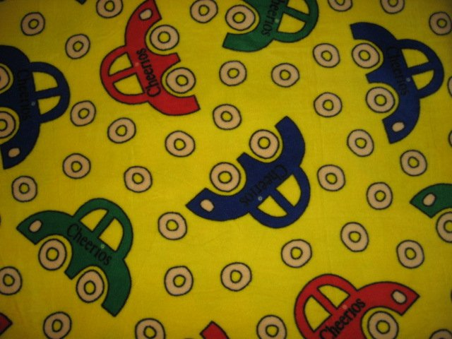 Cheerios  car cereal wheel  Fleece Baby Blanket 29 inches X 36 inches