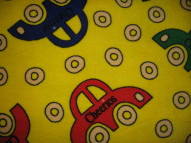 Image 1 of Cheerios  car cereal wheel  Fleece Baby Blanket 29 inches X 36 inches