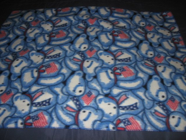 Image 1 of Patriotic Teddy fleece baby blanket  28