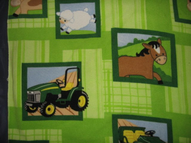 John Deere Tractor Farm Animal Patch  Fleece baby Blanket 27 X 34