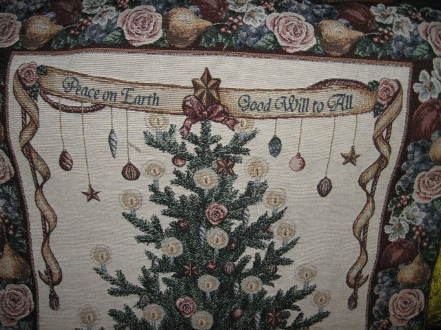 Image 1 of Victorian Christmas Wall Hanging Tapastry 26 inch by 36 inch