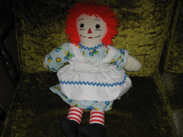 Image 0 of Raggedy Ann doll soft dress apron yarn hair 18 inch
