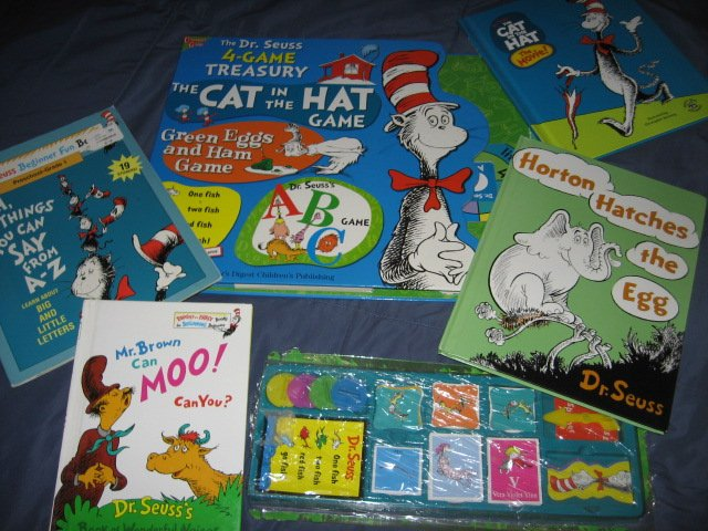 Image 0 of Dr Seuss 4 Game Treasury and 4 other books and stickers
