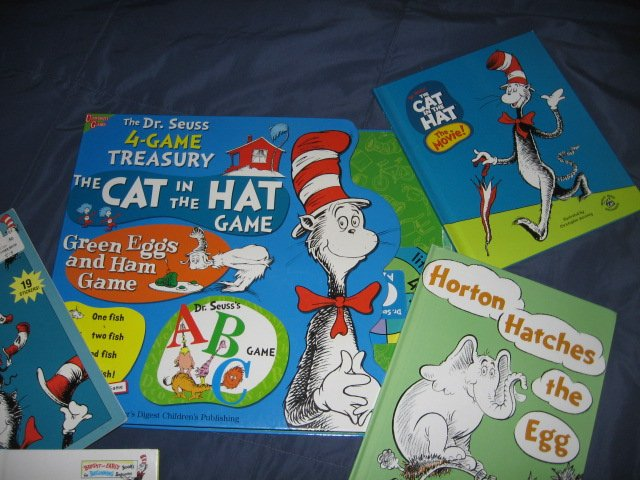 Image 1 of Dr Seuss 4 Game Treasury and 4 other books and stickers