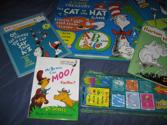 Image 2 of Dr Seuss 4 Game Treasury and 4 other books and stickers