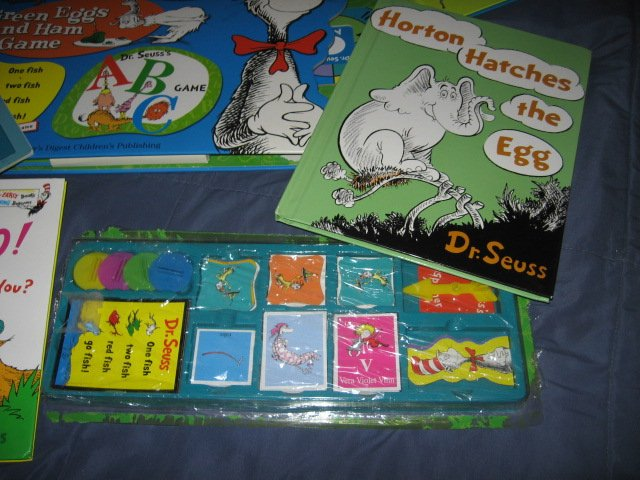 Image 3 of Dr Seuss 4 Game Treasury and 4 other books and stickers