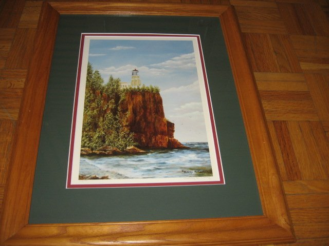 Split Rock Lighthouse Beaver Bay MN signed print w/frame