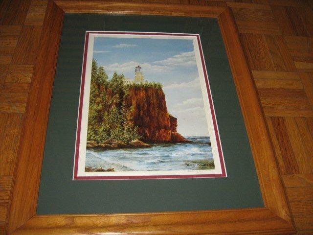 Image 1 of Split Rock Lighthouse Beaver Bay MN signed print w/frame