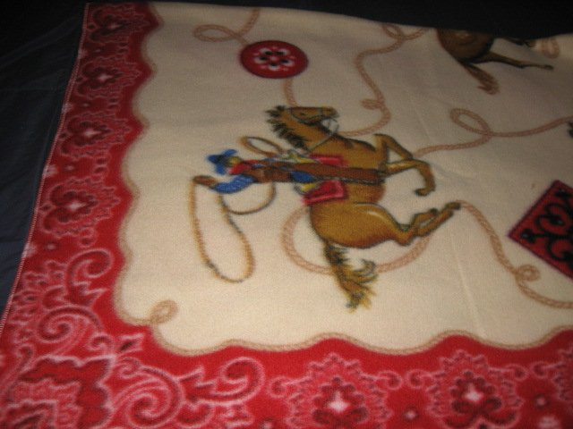 Image 0 of Horse lasso bronco boy western cowboy Fleece blanket throw