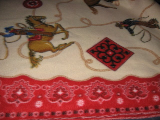 Image 1 of Horse lasso bronco boy western cowboy Fleece blanket throw