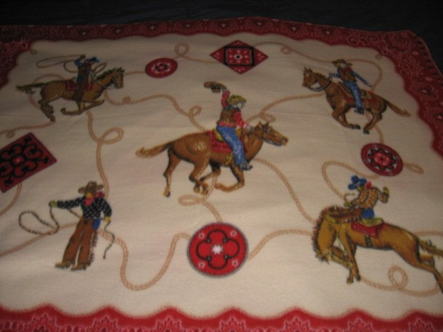 Image 3 of Horse lasso bronco boy western cowboy Fleece blanket throw