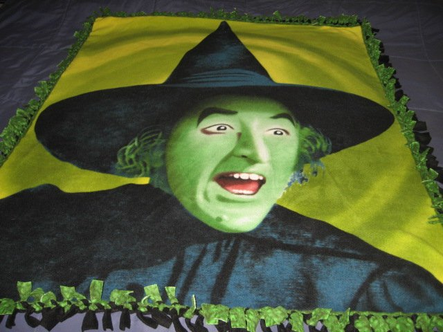Wizard of Oz Wicked Witch hand tied double fleece blanket rare