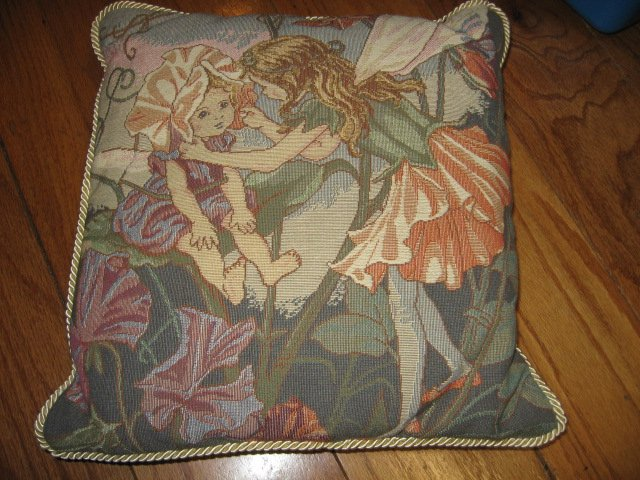 Image 0 of fairies on tapistry pillow set of four
