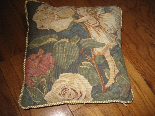 Image 1 of fairies on tapistry pillow set of four