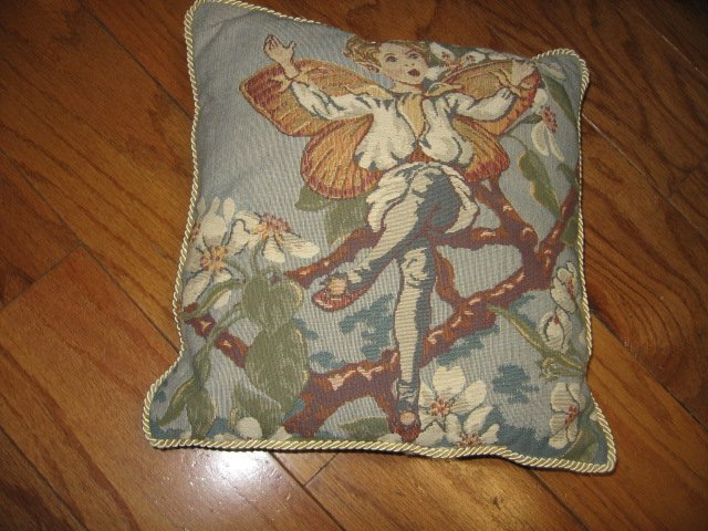 Image 2 of fairies on tapistry pillow set of four