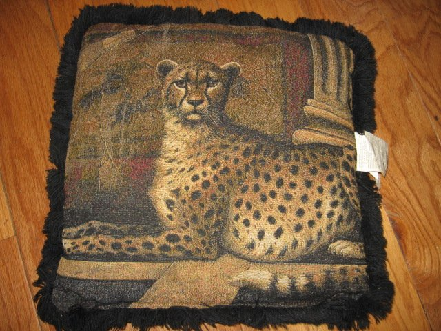 Cheeta tapistry with trim 15  Pillow