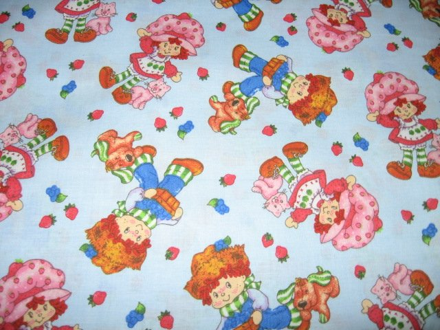 Image 0 of Strawberry Shortcake Blueberry Boy Puppydog Cat blue cotton Fabric