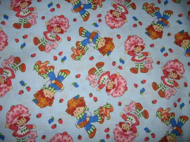 Image 1 of Strawberry Shortcake Blueberry Boy Puppydog Cat blue cotton Fabric