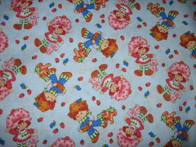 Image 1 of Strawberry Shortcake Blueberry Boy Puppydog Cat blue cotton Fabric