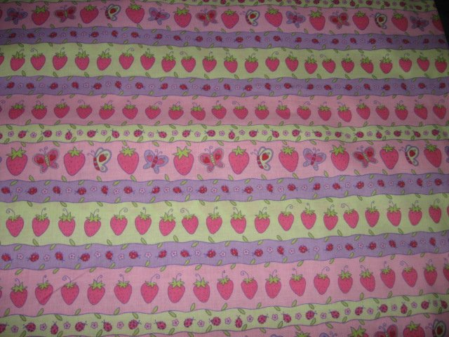 Image 0 of Strawberry Shortcake colorful rows cotton Fabric by the yard