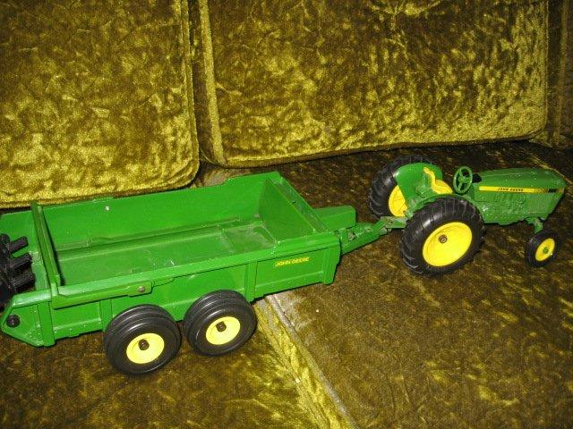 Image 1 of John Deere tractor and spreader metal farm crop seed