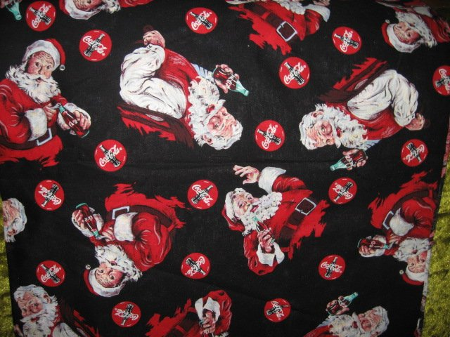 Coca-Cola Christmas Santa logo fabric by the yard  RARE