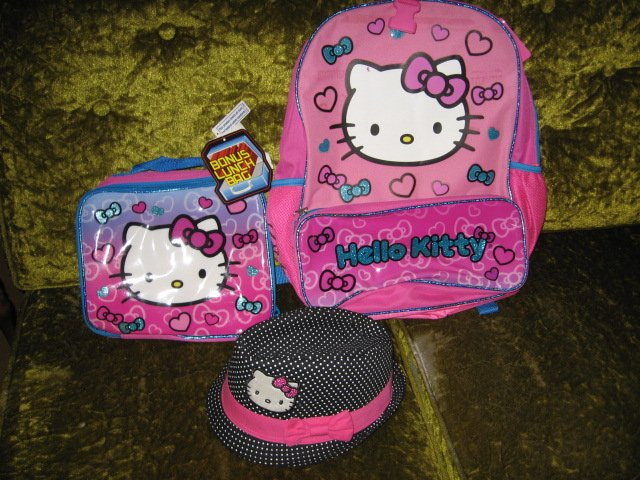 Hello Kitty backpack lunchbag hat new