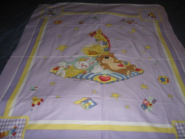 Image 0 of Suzy's Zoo Giraffe Bunny Bear Crib Quilt throw Licensed fabric wall panel to sew