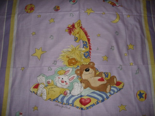Image 1 of Suzy's Zoo Giraffe Bunny Bear Crib Quilt throw Licensed fabric wall panel to sew