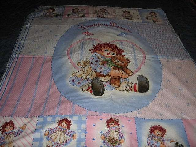Image 0 of Raggedy Ann Crib Quilt throw Licensed fabric panel to sew