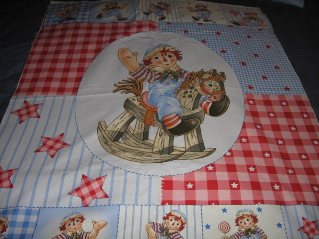 Image 0 of Raggedy Andy Crib Quilt throw Licensed fabric panel to sew