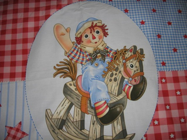 Image 1 of Raggedy Andy Crib Quilt throw Licensed fabric panel to sew