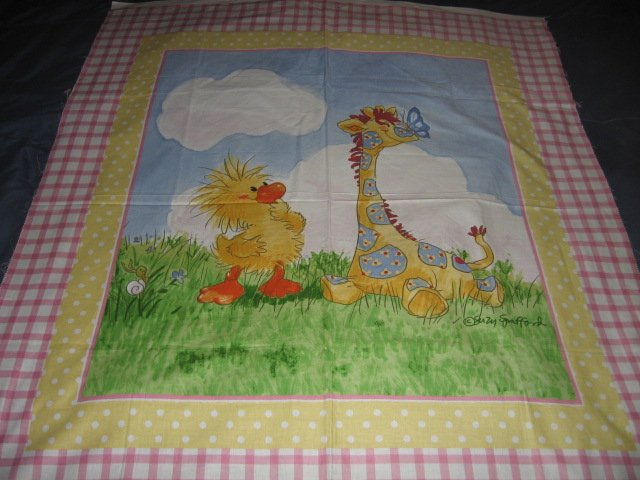 Image 0 of Suzy's Zoo Witzy Giraffe Sunny Day Crib Quilt Licensed fabric wall panel to sew