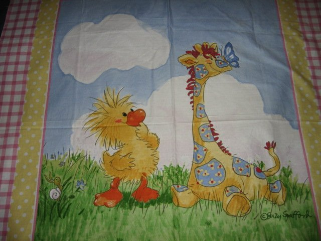 Image 1 of Suzy's Zoo Witzy Giraffe Sunny Day Crib Quilt Licensed fabric wall panel to sew
