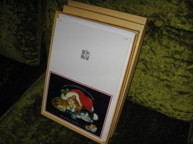 Image 0 of  Kitten mouse Christmas 15 cards per box set of three boxes with envelopes