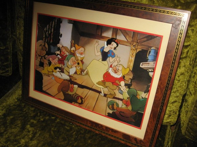 Snow hite Seven Dwarphs Lithograph Framed Matted 1994 Commemorative with glass