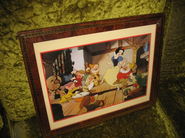 Image 1 of Snow hite Seven Dwarphs Lithograph Framed Matted 1994 Commemorative with glass