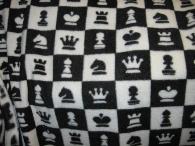 Chess Game  Characters Black White Squares Fleece Blanket