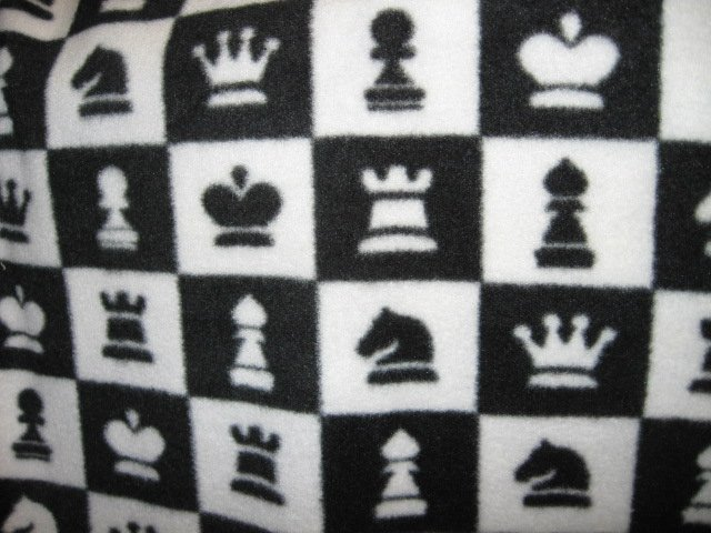Image 2 of Chess Game  Characters Black White Squares Fleece Blanket