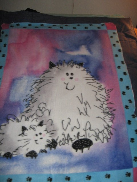 Cat Fleece Blanket Double Bed size RARE 60 inches by 88 inches