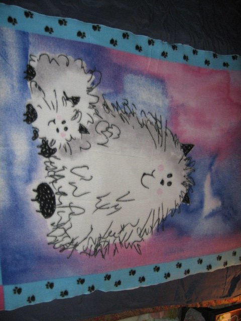 Image 1 of Cat Fleece Blanket Double Bed size RARE 60 inches by 88 inches