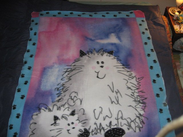 Image 2 of Cat Fleece Blanket Double Bed size RARE 60 inches by 88 inches