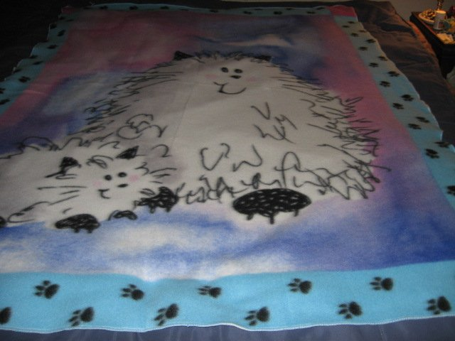Image 3 of Cat Fleece Blanket Double Bed size RARE 60 inches by 88 inches