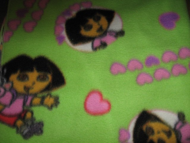 Image 1 of Dora and monkey green  baby blanket Handmade with licensed fleece