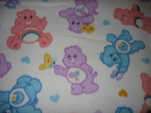 Care Bear pastel baby blanket Handmade with licensed fleece