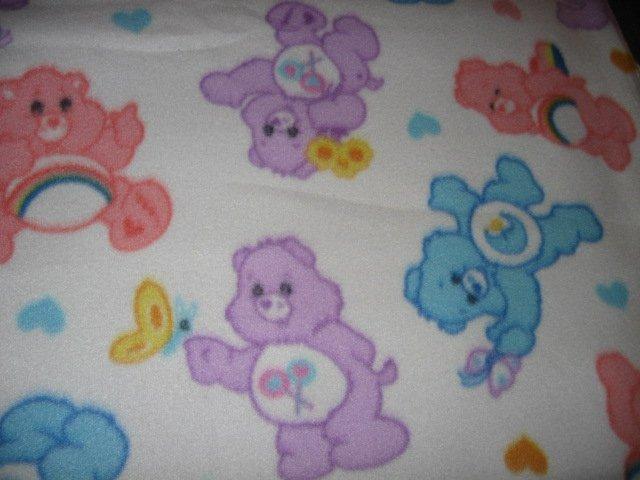 Image 2 of Care Bear pastel baby blanket Handmade with licensed fleece